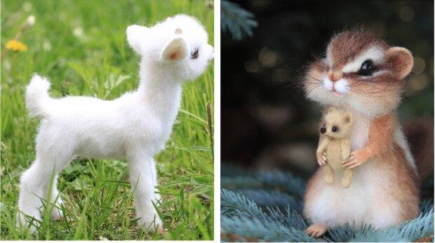Künstlerin schafft Tierfiguren aus Wolle, die nur schwer von den lebenden zu unterscheiden sind