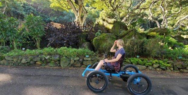 Ein Ehemann hat für seine Frau, die nicht laufen kann, einen Spazierwagen erfunden: Jetzt hat sie vor nichts mehr Angst