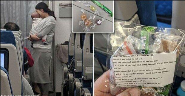 Eine Mutter mit einem 4 Monate alten Baby in einem Flugzeug fand einen Weg, alle Passagiere zu beruhigen